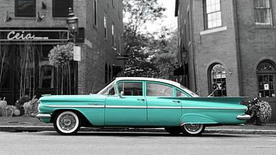Photograph - Blue Chevy Bel Air by Edward Fielding