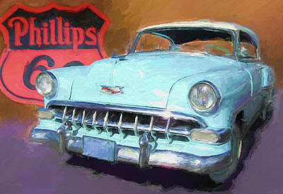 Digital Art - Blue Chevy Phillips 66 by David King