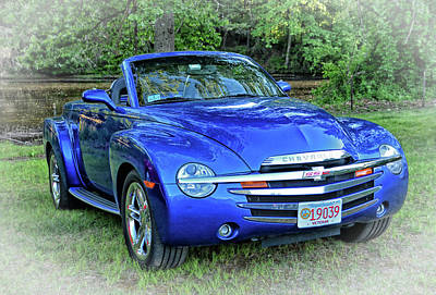 Blue Chevy Super Sport Roadster Art Print by Mike Martin