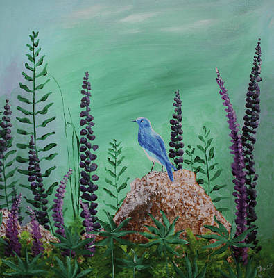Painting - Blue Chickadee Standing On A Rock 2 by M Valeriano