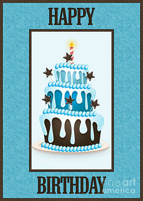 Digital Art - Blue Choco Birthday Cake by JH Designs