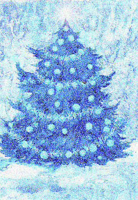 Digital Art - Blue Christmas by Peggy Wilson