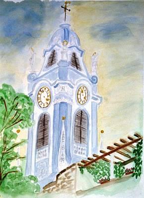 Blue Church Tower  Art Print