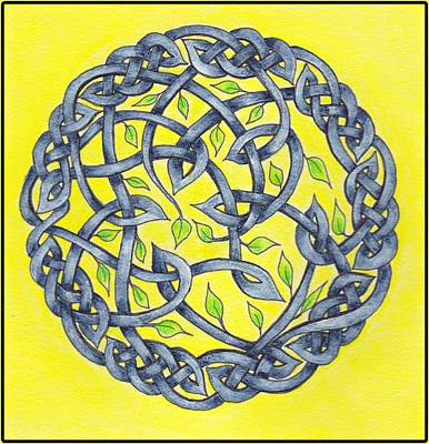 Mandala Painting - Blue Circle Celtic Knot by Lorraine Kelly