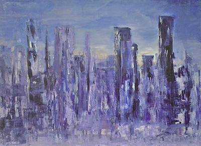 Painting - Blue City At Dawn by Joy Fahey