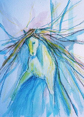 Sporthorse Mixed Media - Blue Clown by Jennifer Fosgate