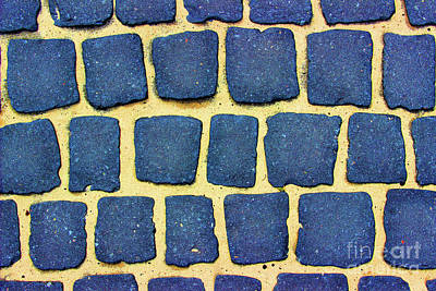 Photograph - Blue Cobblestone Abstract by Karen Adams