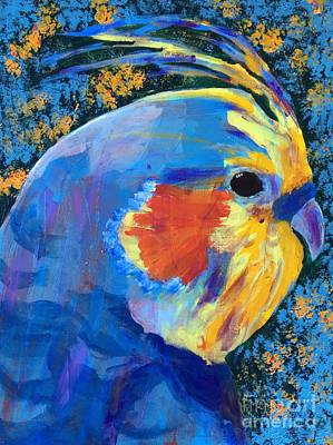 Art Print featuring the painting Blue Cockatiel by Donald J Ryker III