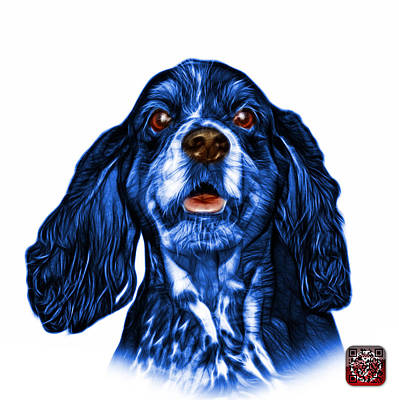 Mixed Media - Blue Cocker Spaniel Pop Art - 8249 - Wb by James Ahn