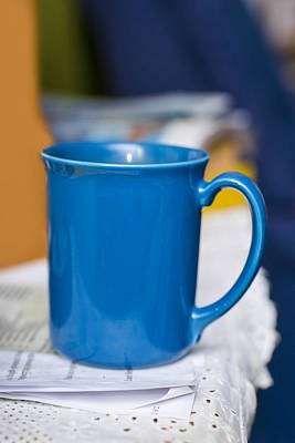 Blue Coffee Cup Print by Donald  Erickson