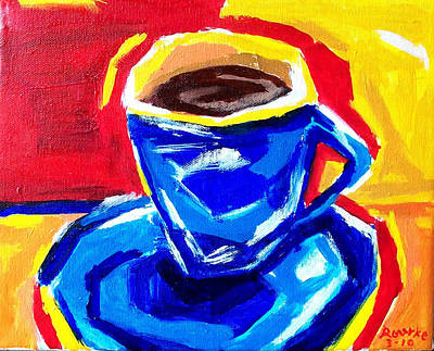 Painting - Blue Coffee by Nancy Rourke