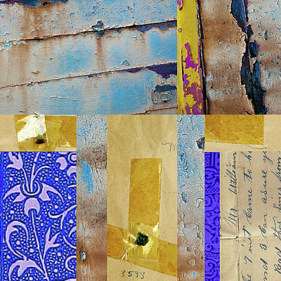 Mixed Media - Blue Collage by Nancy Merkle