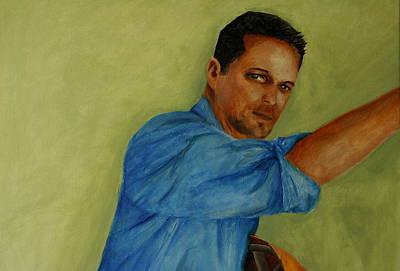 Jesus Painting - Blue Collar by Jun Jamosmos