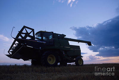 Wheat Silhouette Photograph - Blue Combine by Jerry McElroy