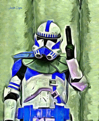 Electronics Painting - Blue Commander Stormtrooper At Work - Pa by Leonardo Digenio