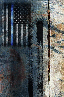 Cop Digital Art - Blue Cop Trio Abstract #1 by Anita Burgermeister