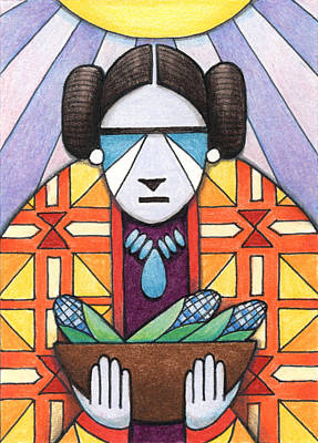 Artist Trading Cards Drawing - Blue Corn Woman by Amy S Turner