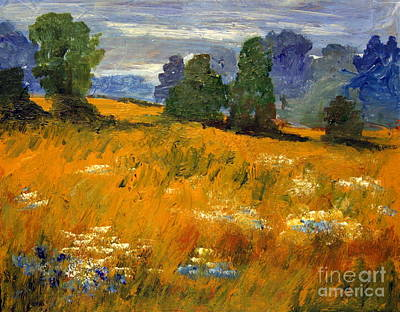 Julia Lueders Painting - Blue Cornflowers On The Meadow by Julie Lueders