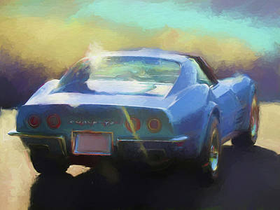 Digital Art - Blue Corvette by David King
