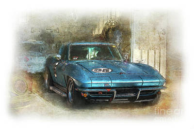 Digital Art - Blue Corvette by Stuart Row