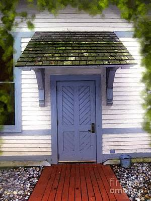 Blue Cottage Door In Early Fall Art Print by RC deWinter