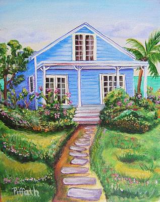 Art Print featuring the painting Blue Cottage by Patricia Piffath