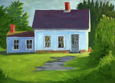 Painting - Blue Cottage, Stonington Maine, Acrylic On Canvas by Dave Higgins