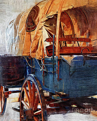 Digital Art - Blue Covered Wagon by Kirt Tisdale