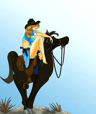 Blue Cowgirl Art Print by Lynn Rider