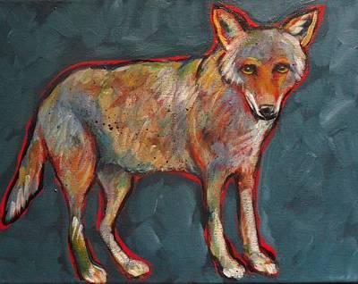 Blue Coyote Santa Fe Style Art Print by Carol Suzanne Niebuhr