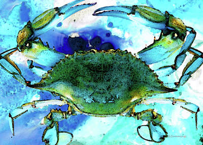 Shell Painting - Blue Crab - Abstract Seafood Painting by Sharon Cummings