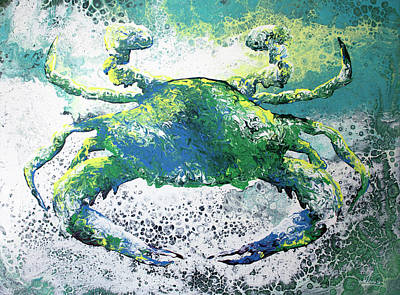Painting - Blue Crab Abstract by William Love