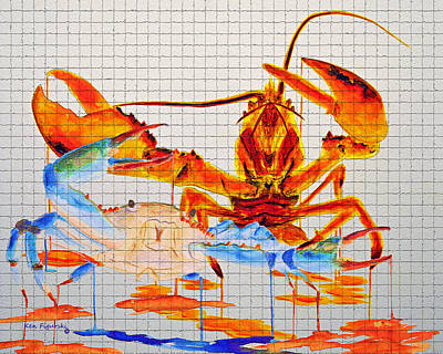 Watercolor Painting - Blue Crab And Calico Lobster Mosaic Tile by Ken Figurski