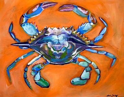 Abstract Wildlife Painting - Blue Crab by Anne Seay