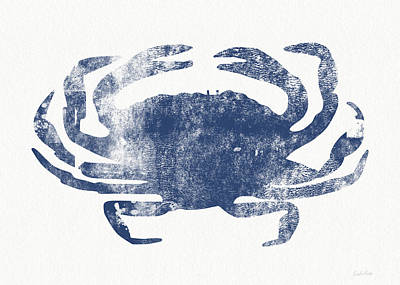 White And Blue Mixed Media - Blue Crab- Art By Linda Woods by Linda Woods