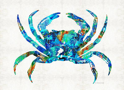 Blue Crab Art By Sharon Cummings Art Print by Sharon Cummings