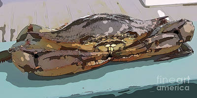 Digital Art - Blue Crab Cartoon by Susan Cliett