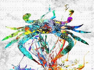 Blue Crab Mixed Media - Blue Crab Grunge by Daniel Janda