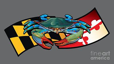Digital Art - Blue Crab Maryland Banner by Joe Barsin