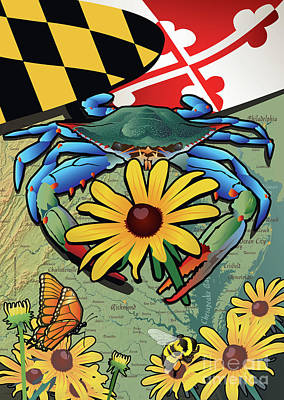 Digital Art - Blue Crab Maryland Black-eyed Susan by Joe Barsin