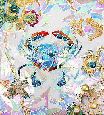 Glass Art - Blue Crab Mosaic by Jan Marvin