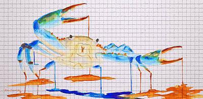 Fiddler Digital Art - Blue Crab Mosaic Tile by Ken Figurski