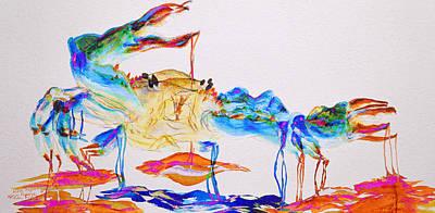 Lobster Painting - Blue Crab On Acid by Ken Figurski