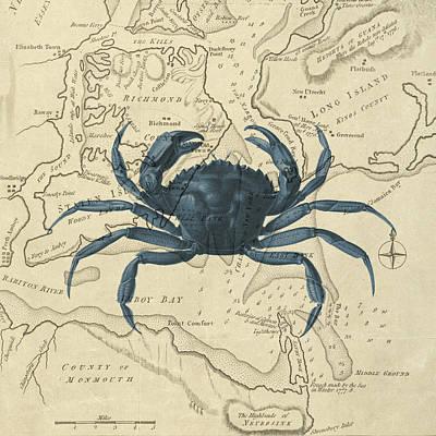 Blue Crab Over Antique Sea Chart Art Print