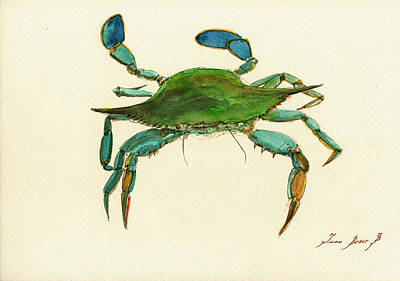 Crab Painting - Blue Crab Painting by Juan  Bosco