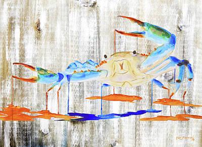 Blue Crab Mixed Media - Blue Crab Rustic by Ken Figurski