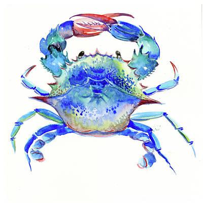 Atlantic Ocean Drawing - Blue Crab by Suren Nersisyan