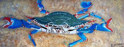 Animals Paintings - Blue Crab Tile by Debbie LaFrance