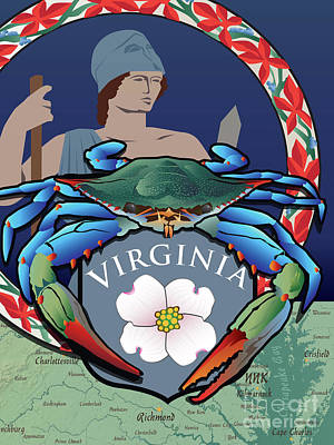 Digital Art - Blue Crab Virginia Dogwood Flag by Joe Barsin