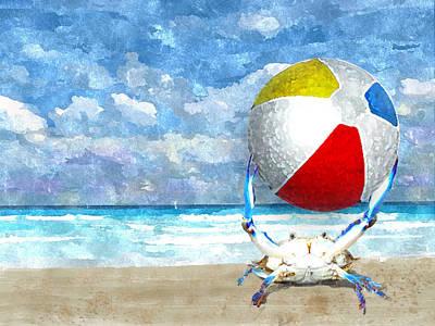 Photograph - Blue Crab With Beach Ball by Kim Hawkins Eastern Sierra Gallery